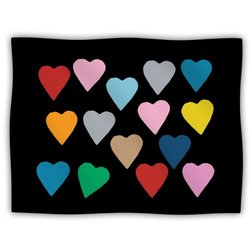 "Kess InHouse Project M ""Hearts Colour on Black"" Fleece Blanket, 60 by 50-Inch"