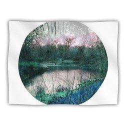 """Kess InHouse Micah Sager """"Swamp"""" Lake Circle Fleece Blanket, 60 by 50-Inch"""