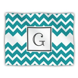 "Kess InHouse KESS Original ""Monogram Chevron Teal Letter G"" Fleece Blanket, 60 by 50-Inch"
