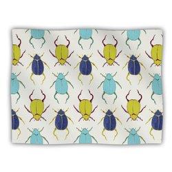 """Kess InHouse Laurie Baars """"Beetles"""" Tan Blue Fleece Blanket, 60 by 50-Inch"""