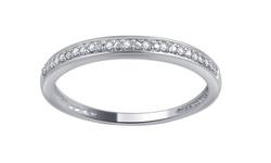 10K White Gold Round Diamond Accent Band - Size: 8