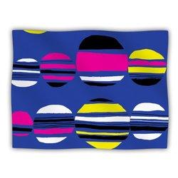 "Kess InHouse Emine Ortega ""Retro Circles Cobalt"" Blanket, 60 by 50-Inch"