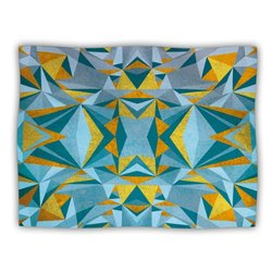 "Kess InHouse Nika Martinez ""Abstraction Blue and Gold"" Fleece Blanket, 60 by 50-Inch"