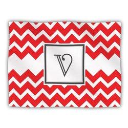 """Kess InHouse KESS Original """"Monogram Chevron Red Letter V"""" Fleece Blanket, 60 by 50-Inch"""