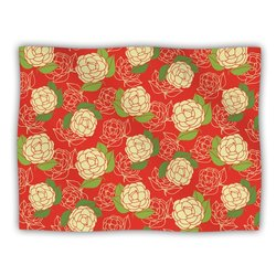"Kess InHouse Holly Helgeson ""Cammelia Red Yellow"" Blanket, 60 by 50-Inch"