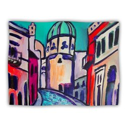 """Kess InHouse Theresa Giolzetti """"Procida Teal"""" Blue Red Fleece Blanket, 60 by 50-Inch"""