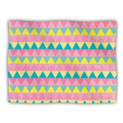 "Kess InHouse Louise Machado ""Triangles"" Yellow Pink Fleece Blanket, 60 by 50-Inch"