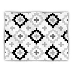 "Kess InHouse Pellerina Design ""Black White Moroccan Grey Geometric"" Blanket, 60 by 50-Inch"