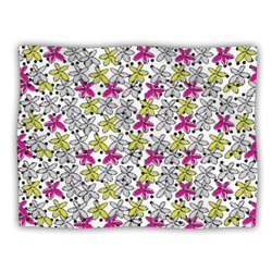 "Kess InHouse Nandita Singh ""Floral Spread"" Pink Yellow Fleece Blanket, 60 by 50-Inch"