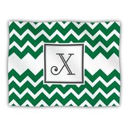 "Kess InHouse KESS Original ""Monogram Chevron Green Letter X"" Fleece Blanket, 60 by 50-Inch"