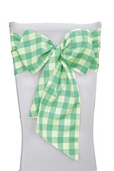 LA Linen Checkered Chair Bows Sashes, 7 by 108-Inch, Mint/White, 10-Pack