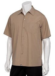 Chef Works Cafe S/S Shirt with Soil Release - Khaki - Size: X-Small