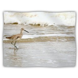 "Kess InHouse Robin Dickinson ""Counting The Waves"" Brown White Fleece Blanket, 60 by 50-Inch"