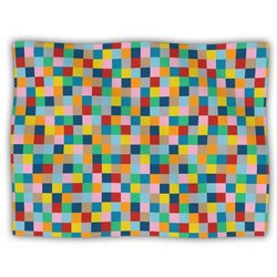 "Kess InHouse Project M ""Colour Blocks"" Geometric Rainbow Fleece Blanket, 60 by 50-Inch"
