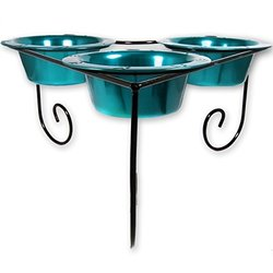 Platinum Pets Triple Heart Diner Stand with 3 28-Ounce Bowls, Teal