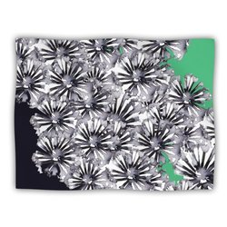 "Kess InHouse Sonal Nathwani ""Flowers on Green"" Fleece Blanket, 60 by 50-Inch"