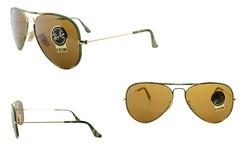 Ray Ban Unisex Aviator Sunglasses - Green Camo/Brown - 58mm