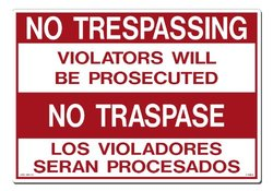 Lynch Signs R- 39BLS 20-Inch x 14-Inch Plastic No Traspase Sign, Red/White