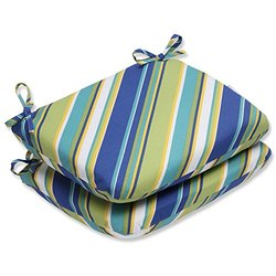 2 Pack Pillow Perfect Outdoor Rounded Corners Seat Cushion - Sun Blue