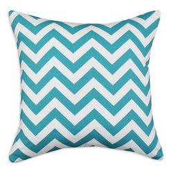 Brite Ideas Living Zig Zag True KE D-Fiber Pillow, 17 by 17-Inch, Turquoise