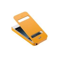 Jisoncase Classic Premium Leatherette Flip Case for iPhone 5 - Orange