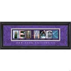 Prints Charming Letter Art Framed Print, New York University-New York, Bold Color Border