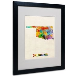 Trademark Global Watercolor State Framed Canvas Wall Art Oklahoma
