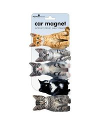 Paper House MCAR-1016E 3-Pack Decorative Car Magnet, Row of Kittens