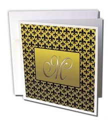 Elegant letter M embossed in frame over a fleur-de-lis pattern on a gold background - Greeting Cards, 6 x 6 inches, set of 12 (gc_36091_2)