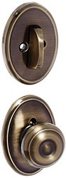 Schalge Georgian Knob Dummy with Deadbolt - Antique Brass