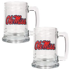 NCAA Mississippi Old Miss Rebels 15-Ounce Glass Tankard Set (2-Piece)