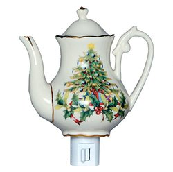 Green Pastures Wholesale Christmas Tree Teapot Porcelain Night Light, 5-Inch by 4-Inch by 6-Inch