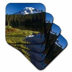 cst_95923_1 Mount Rainier in Reflection Lake, Paintbrush-US48 JWI1171-Jamie and Judy Wild-Soft Coasters, Set of 4
