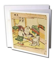 "1780 Wood Cut of 3 Japanese Travelers with Trunk Greeting Cards, 6"" x 6"", Set of 12 (gc_62574_2)"