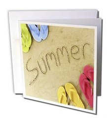 3dRose Definitely Summer - Greeting Cards, 6 x 6 inches, set of 12 (gc_54134_2)