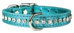 """OmniPet Signature Leather Crystal and Leather Dog Collar, 10"""", Metallic Red"""