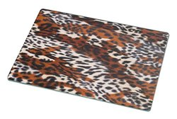 Rikki Knight RK-LGCB-2004 Leopard Skin Pattern Glass Cutting Board, Large, White