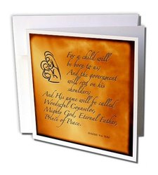 "Isaiah 9 6 Bible Verse Jesus Birth for Christmas Greeting Cards, 6"" x 6"", Set of 12 (gc_31347_2)"