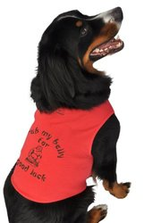 Doggie Tank Top, Rub My Belly for Good Luck, Red, Extra-Large