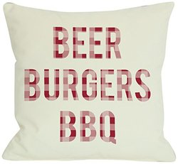 "Bentin Home Decor Beer Burgers BBQ Outdoor Throw Pillow by OBC, 18""x 18"", Ivory/Red Plaid"