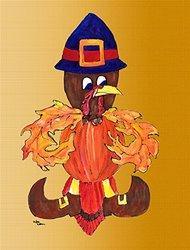 Thanksgiving Turkey Pilgrim Fleur de lis Flag Garden Size