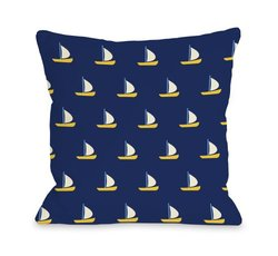 "Bentin Home Decor Whimsical All over Sailboat Throw Pillow by OBC, 26""x 26"", Navy/Yellow"