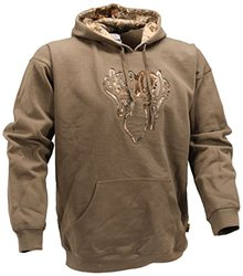 Men's Applique Hoodie with Desert Shadow Logo Accents - Olive - Size: XL