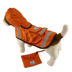 One for Pets Safety Hooded Raincoats, 28-Inch, Orange Red