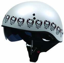 Torc Half Helmet with Love Hurts Graphic - White - Size: Small