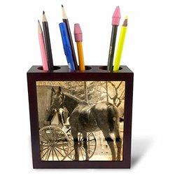 "ph_184525_1 Amish Bringing Home a New Horse Sepia Tile Pen Holder, 5"""