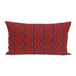 E By Design Anchor Decorative Outdoor Seat Cushion - Away Cardinal