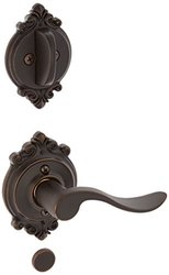 Schlage Accent Lever Right Handed Dummy with Deadbolt - Aged Bronze