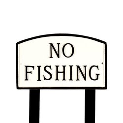 Montague Metal Products White and Black No Fishing Arch Statement Plaque