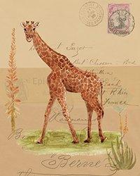 "Canvas 'Africana Giraffe ' by Lisa Ven Vertloh - 16""x20""x1.5"" (2-Pieces)"